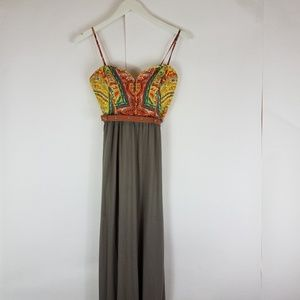 Nine west yellow teal brown maxi dress size 6